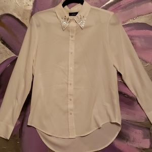 White Blouse with Jeweled Collar